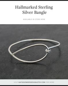 Handmade hallmarked sterling silver bangle, Hook clasp, Simple and stylish, Birthday present, Gift for her, Elegant everyday jewellery