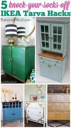 WOW!! These are awesome! I had no clue you could do so much with an IKEA Tarva Dresser! Five Knock-Your-Socks-Off IKEA Tarva Hacks via RainonaTinRoof.com
