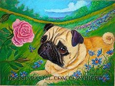 """Pug & the Rose by Mary Detwiler Oil Pastel ~ 9"""" x 12"""""""