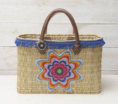 Strandtas beachbag Ibiza rechthoekig franjes ster mandala katoen