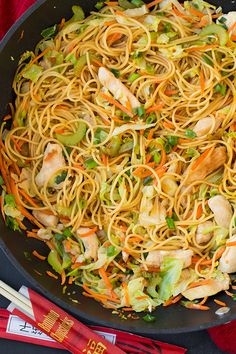 This Chicken Chow Mein is just like what you get at your favorite Chinese restaurant but it's made at home in under 25 minutes!!