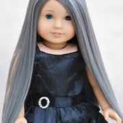"""Graphite"" premium custom doll wig for American Girl Dolls exclusive design available in our store!"