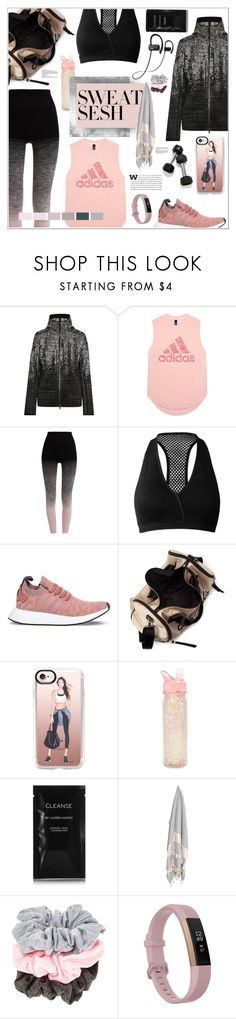 """""""Sweat Sesh: Gym Style"""" by purestylebyluna ❤ liked on Polyvore featuring adidas, Pepper & Mayne, Miss Selfridge, Casetify, ban.do, Cleanse by Lauren Napier, Fitbit, contestentry and sweatsesh"""