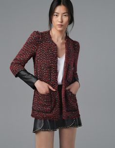 COMBINED LEATHER FANTASY BLAZER - Woman - New this week - ZARA