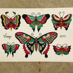 """Sailor Jerry inspired butterflies #tattooflash #traditionaltattoo #flash…"