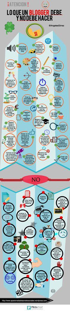 Lo que debe y NO debe hacer un blogger #infografia #infographic #socialmedia vía: apasionadadelasredessociales.wordpress.com