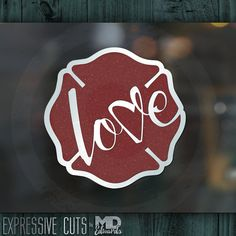 3 & 4 inch LOVE maltese FIREFIGHTER decal  Dark by ExpressiveCuts