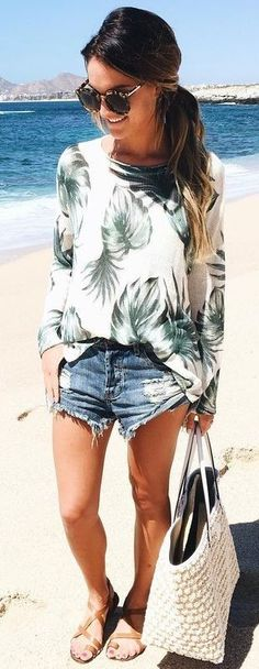 Palm Print Top + Cut Offs Source