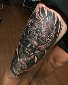 Tiger tattoo, clock tattoo