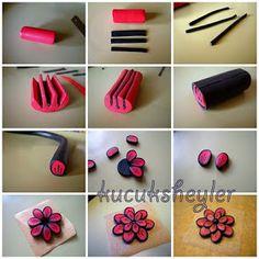 ♥ polimer kil/fimo, resin ve kart yapım çalışmaları ♥: fimodan kırmızı çiçek kolye