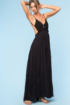Womens street style outfit: Bohemian black Crochet Lace Maxi Dress. Front view.