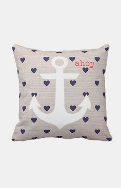 Nautical Anchor Pillow Cover Navy Heart Ahoy Marine
