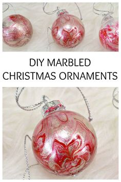 DIY Marbled Christmas Ornaments DIY Marbled Christmas OrnamentsI'm into the whole handmade Christmas thing this year. I made these a couple of weeks ago and this week it Clear Christmas Ornaments, Noel Christmas, Homemade Christmas, Diy Christmas Gifts, Christmas Decorations, Ball Ornaments, Christmas Jokes, Diy Ornaments, Beaded Ornaments