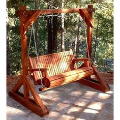 freestanding wood porch swing