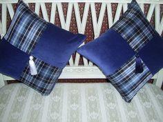 Silk  tartan and velvet cushions in Clan Clark.