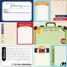Travel Journal Cards. Digital Scrapbooking. by ScrapbookCustoms1