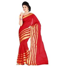 29780abac75 Designer Red Cotton Sari With Golden Lines Print Casual Wear Pure Cotton  Saree For Women