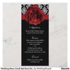 Wedding Menu Cards Red Rose Damask Wedding Menu Cards, Wedding Invitation Cards, Wedding Themes, Wedding Ideas, Risotto Cakes, Black Red Wedding, Pacific Salmon, Vegetables For Babies, White Chocolate Truffles