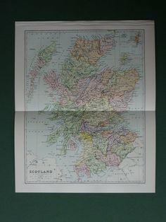 Antique Map Of #Scotland by J Bartholomew of Edinburgh by PrimrosePrints, £8.00