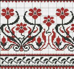 Flowers in red and black Cross Stitch Bookmarks, Cross Stitch Borders, Cross Stitch Flowers, Cross Stitch Embroidery, Embroidery Patterns, Cross Stitch Patterns, Graph Design, Chart Design, Knitting Charts
