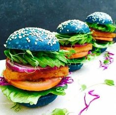 Rainbow Colors - Natural & organic food dyes - Bluechai Shop @rawcrush created these all blue burgers with butterfly pea powder pizza buns, Korean bbq tofu and salad. You can add butterfly pea flower powder to (almost) any food or clear liquid to make it blue, for blue burgers you'll just have to add a few teaspoons of the food dye to the tough, then bake as you normally would.
