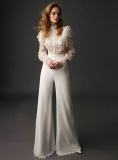 Danit Levy 2019 Spring Bridal Collection – The FashionBrides - lace things Wedding Trouser Suits, Wedding Pantsuit, Wedding Attire, Gown Wedding, Lace Wedding, Bridal Pants, Wedding Jumpsuit, Long Wedding Dresses, Bridal Dresses