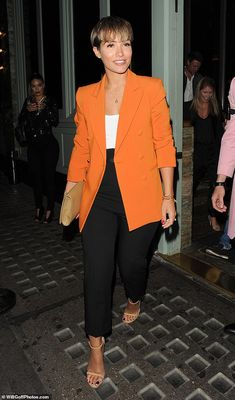 Milestone: Frankie Bridge and her husband Wayne celebrated their fifth wedding anniversary with a night out in Mayfair on Thursday Night Outfits, Classy Outfits, Chic Outfits, Trendy Outfits, Fashion Outfits, Colourful Outfits, Colorful Fashion, Orange Blazer Outfits, Vetement Fashion