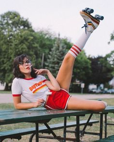 Daytripper Ringer Tee I'd rather be skating 🌈⭐️ Anna Faunce.ope in the Daytripper ringer tee by Hayley Sikorski ⚡️ Roller Disco, Retro Roller Skates, Roller Derby Girls, 70s Fashion, Look Fashion, Vintage Fashion, Luxury Fashion, Rollers, Mode Disco