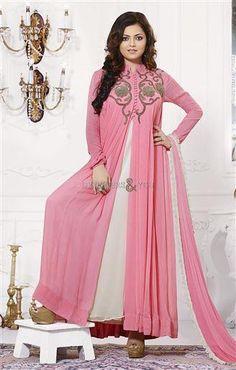 Buy Pink Georgette Designer Anarkali Salwar Kameez with Dupatta at Best Price on Variation. Huge range of Designer suits, Punjabi suits, Anarkali suits and Women Salwar Kameez Online. Gown Style Dress, Dress Indian Style, Indian Dresses, Indian Outfits, Indian Wear, Pakistani Outfits, Gown Dress, Designer Anarkali Dresses, Designer Dresses