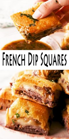 These simple french dip squares are filled with complex flavors and there is ideal shortcut into some French dip sandwich. These simple french dip squares are filled with complex flavors and there is ideal shortcut into some French dip sandwich. Sandwich Bar, Subway Sandwich, Soup And Sandwich, Dinner Sandwiches, Sandwich Ideas, Sandwiches For Parties, French Sandwich, Appetizers For Party, Appetizer Recipes