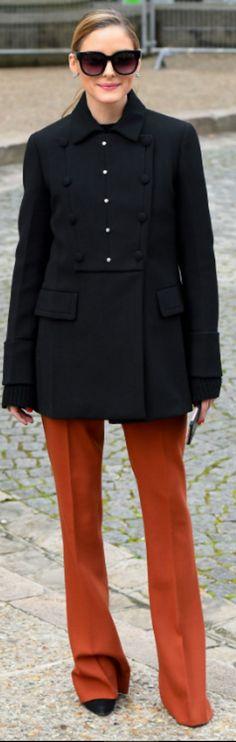 Olivia Palermo: Coat – Prada Pants – Max & Co Sunglasses – Perverse