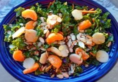 Fruit & Almond Kale Salad with Clementine-Maple Dressing.  A Super Salad, health-wise and taste-wise. Dressing is AWESOME.
