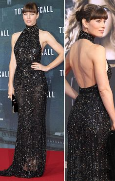 essica Biel also dressed to impress (for once!). The actress, who put her best, er, assets on display in a sequined, backless Elie Saab creation, topped off her look with a sleek bun, blunt bangs, and a big, blingy engagement ring -- courtesy of fiance Justin Timberlake.