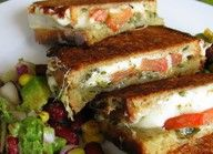 Mozzarella tomato pesto grilled cheese - made this Tuesday! It was amazing, made it with some Tomato Basil Soup