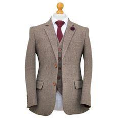 Men's Brown Classic Barleycorn Suit