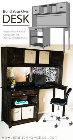 I want to make this!  DIY Furniture Plan from Ana-White.com  Free plans to build a desk hutch inspired by Pottery Barn Teen Chatham desk and hutch. Build your own with free step by step plans including shopping list and cut list.