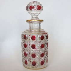 Antique Baccarat Cranberry Cut to Clear Glass Crystal Scent Perfume Bottle.