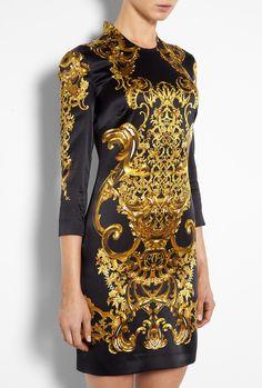 Just Cavalli Baroque Print Silk Satin Dress