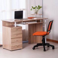 Oak Finish Modern Computer Desk Keyboard Tray Three Spacious Drawers Cabinet  #Unbranded #Modern