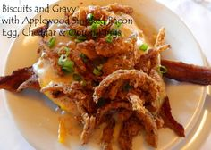 Biscuits and Gravy with Applewood Smoked Bacon, Egg, Cheddar & Onion Rings