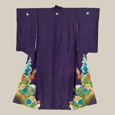 A silk antique irotomesode featuring a fine, reflective shushi silk that vividly displays the yuzen-dyed flowers.  Embroidery highlights.  Late Meiji period(1880-1911).  The Kimono Gallery