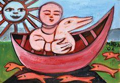 Figure and Duck on Boat Gouache on paper: Mirka Madeleine Mora (1928-.) Australia