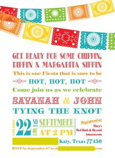 Fiesta Couples Shower, I like this idea, especially if we have a tiny wedding out of state. We could still celebrate with his family too!