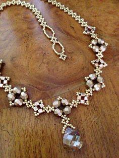 Handmade czech bead necklace with Swarovski by AmyKanarekDesigns