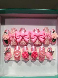 Pretty Princess Romantic Rose Garden with Pink glitter, hearts and bows  full false/fake 3D nails Japanese nail art Hime Gyaru Sweet Lolita on Etsy, $15.99