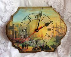 """Купить Часы  """"Венеция.Солнечно"""" - часы настенные, часы, часы декупаж, часы деревянные"""