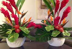 Tropical ceremony arrangements by Kaas Floral Design Tropical Floral Arrangements, Flower Arrangements, Wedding Images, Diy And Crafts, Floral Design, Retro, Beach, Flowers, Plants