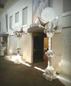 Elegant entry columns. All out of balloons.