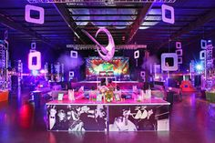 Studio 54 imagery inspired the look for a bar front, which had a Studio 33 logo, so named for the. Disco Birthday Party, 70s Party, Birthday Celebration, Party Time, Birthday Parties, Halloween Themes, Halloween Party, Studio 54 Disco, Disco Party Decorations