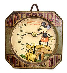 Vintage tin Mickey Mouse and Pluto thermometer. Walt Disney, Disney Home, Disney Fun, Disney Mickey, Punk Disney, Disney Facts, Disney Stuff, Disney Movies, Disney Characters